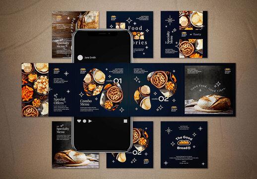Food Carousel Template Social Media Post Layout