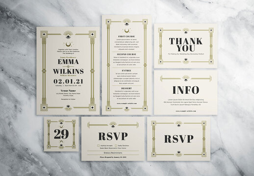 Art Deco Wedding Invitation Suite