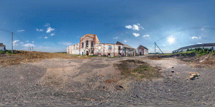 full seamless spherical hdri panorama 360 degrees angle view near abandoned ruined factory hangar without roof in equirectangular projection, VR AR virtual reality content.