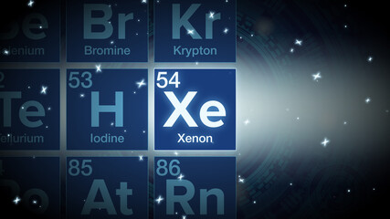 Fototapeta Close up of the Xenon symbol in the periodic table, tech space environment.
