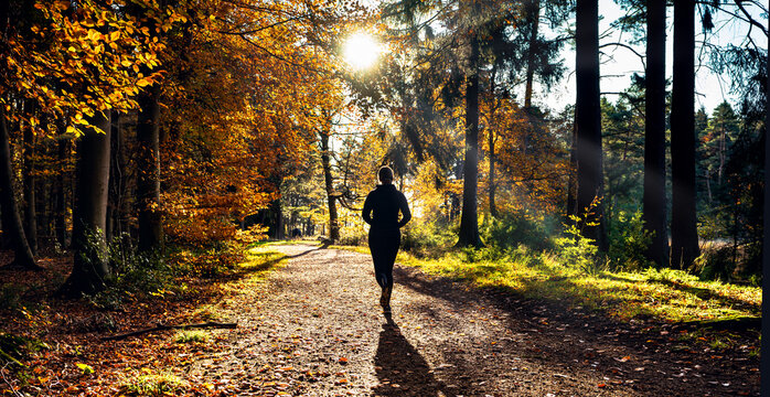 Female Runner in Silent Forest in spring with beautiful bright sun rays