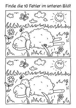 Rätselbild Fehlerbild Schaf
