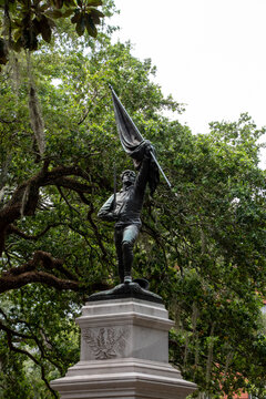 The William Jasper Monument from Madison Square in Savannah, Georgia