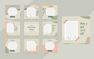 Wall Mural - Minimalist organic social media template banner fashion sale promotion. fully editable square post frame puzzle organic sale poster
