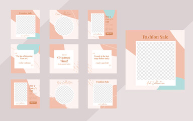 Wall Mural - WebMinimalist organic social media template banner fashion sale promotion. fully editable square post frame puzzle organic sale poster