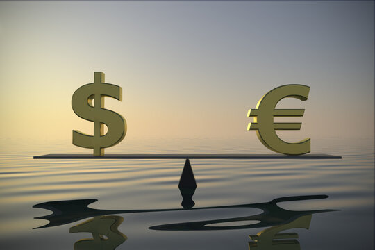 Foreign exchange balance between US Dollar and Euro 3d rendering.