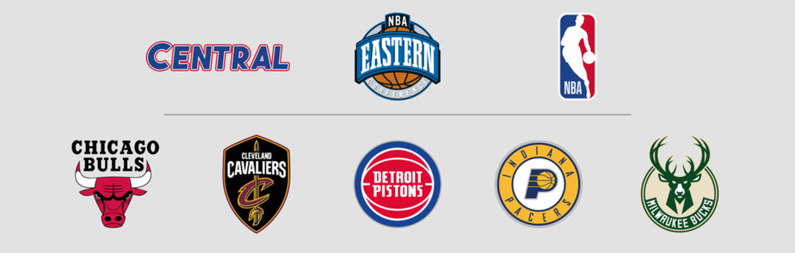 NBA Eastern Conference Central logos, scaleable vector file, transparent.