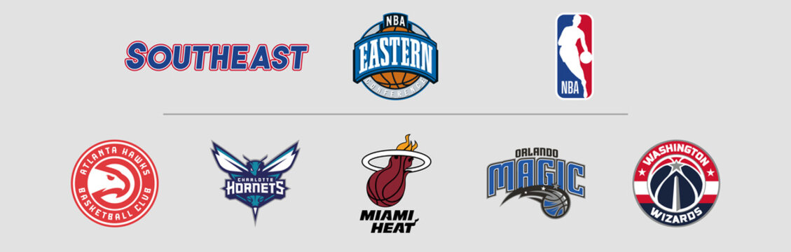 NBA Eastern Conference Southeast logos, scaleable vector file, transparent.