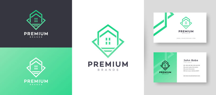 Flat & Minimal House, Home Property Business Logo With Premium Business Card Design Vector Template for Your Company