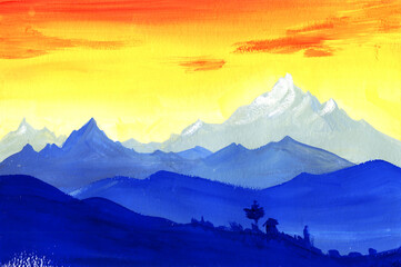 Bright watercolor landscape of sunrise in mountains. Gradient layers of blue mountain ranges against vivid orange and yellow sky. Blurred silhouettes of small hamlet lost among high mountain peaks