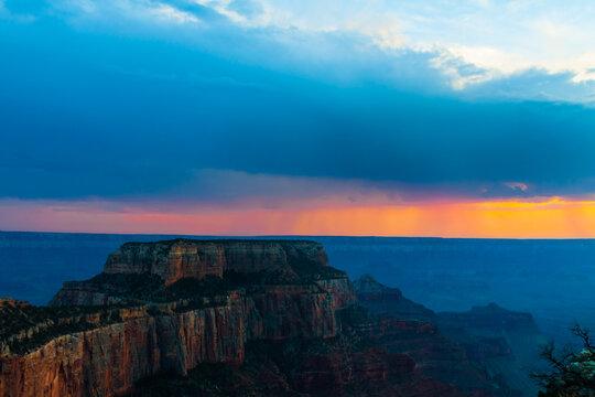 Sunset on Wotan's Throne, Cape Royal, North Rim, Grand Canyon National Park, Arizona, USA