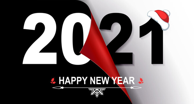 Happy new year 2021 christmas composition in black and white shade, folded leaf in red shade with gradient