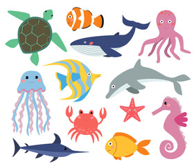 set of marine life for children. vector illustration in cartoon style, isolated on white background