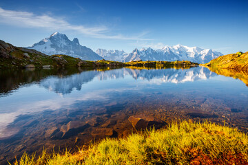 Wall Mural - Charming summer scene of Lac Blanc on the background of Mont Blanc glacier.