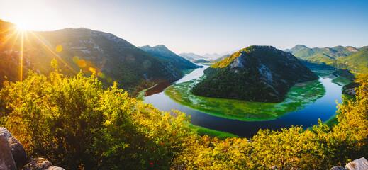 Wall Mural - Splendid scene of winding river Rijeka Crnojevica. Location National park Skadar Lake, Montenegro.