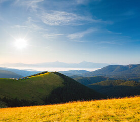 Wall Mural - Spectacular sunny day in morning mountain landscape.