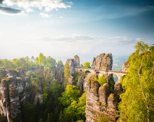 Wall Mural - Elbe Sandstone Mountains in sunlight at day. Location Saxon Switzerland national park, Germany, Europe.