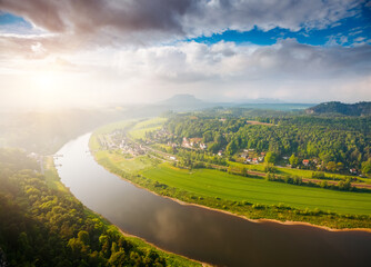 Wall Mural - Fantastic foggy image of valley Elbe river. Location place Saxon Switzerland national park, Germany.