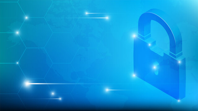 cybersecurity technology concept. Padlock on background of world map. Personal data protection and safe data storage on Internet. Vector