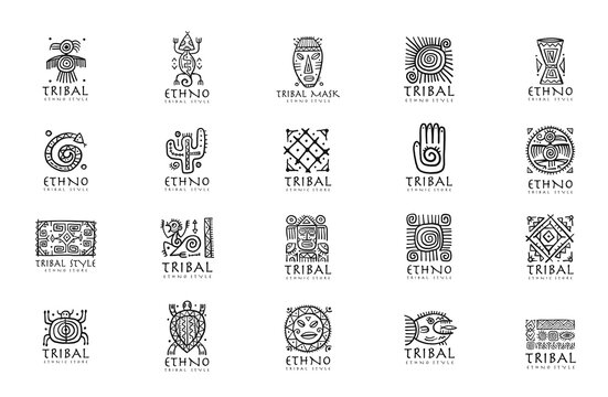 Ethnic mexican decor. Icons set for your design. Tribal tattos elements