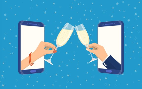 Couple celebrate birthday or holiday event remote by internet. Meeting friends at online quarantine party. Vector illustration in flat style