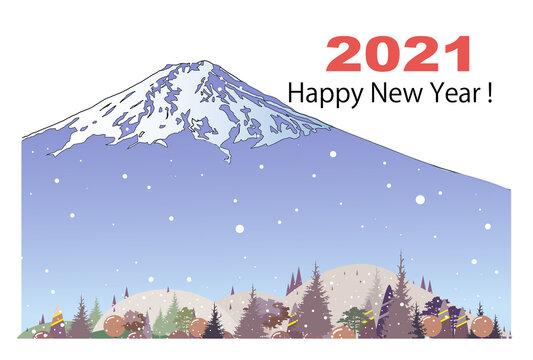 年賀状テンプレート、雪降る富士山と里村