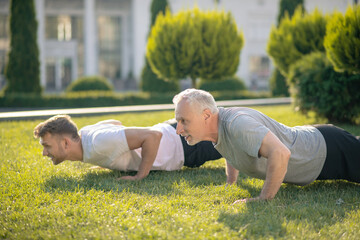 Young brown-haired male and mature grey-haired male doing push ups on grass Wall mural