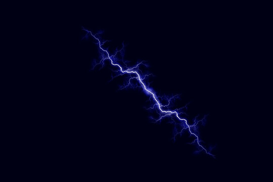 Powerful electrical discharge striking from side to side realistic illustration isolated on black transparent background. Flaming lightning strike in the dark. Electrical energy flash light effect