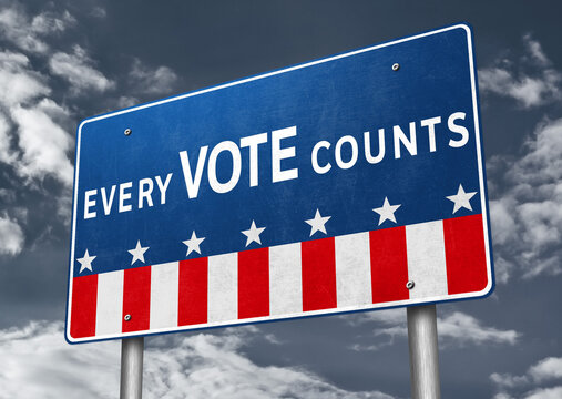 Every Vote Counts road sign message