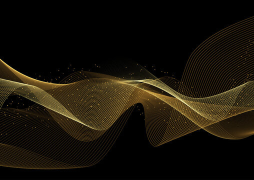 Glittery gold waves background