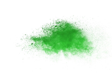 Abstract green powder on white background. holi festival.