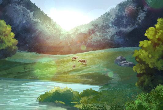 放牧される牛のイラスト、年賀状サイズ
