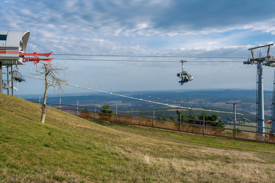 Fichtelberg, Saxony, Germany - october 22, 2020: The chairlift transporting tourists from Oberwiesenthal to Fichtelberg mountain top