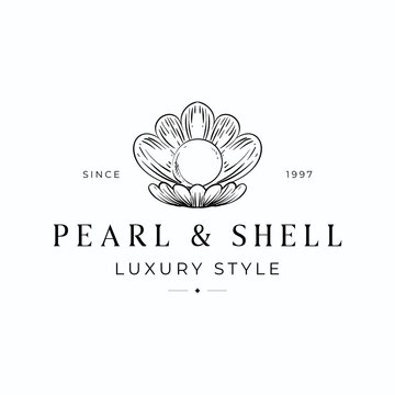 Luxury pearl in clam shell logo concept design template