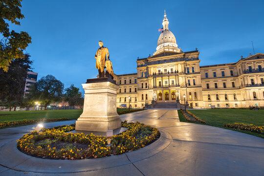 Lansing, Michigan, USA at the Michigan State Capitol