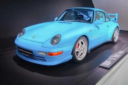 STUTTGART, GERMANY-APRIL 7, 2017: Blue 1996 Porsche 911 Carrera RS 3.8 Clubsport in the Porsche Museum