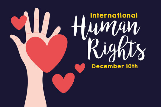 human rights campaign lettering with hand and hearts