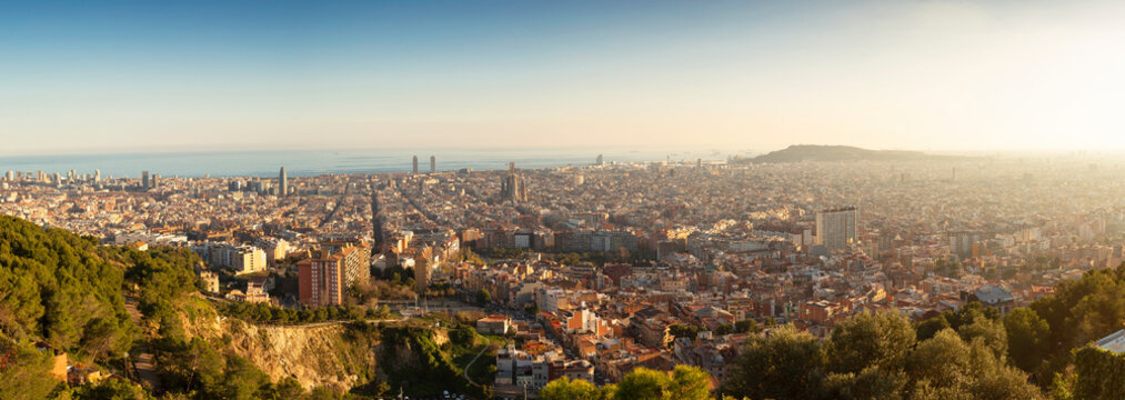 Panorama sunset over Barcelona from Bunkers del Carmel