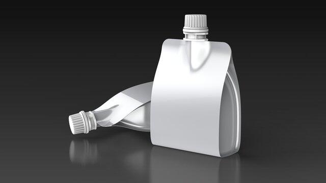 Spout pouch 2 black background 3d rendering