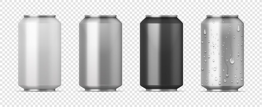 Realistic beer pack. 3D aluminum white, gray and black cans for carbonated drink with water condensation effect. Alcohol or soda beverage container on transparent background. Vector brand identity set