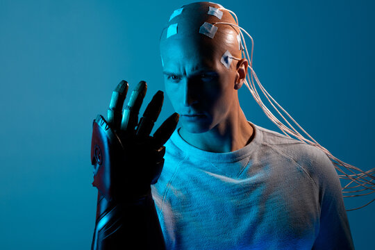 bald man with electrodes in his brain, a man of the future