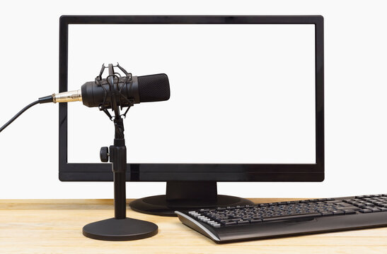 Microphone on the background of a computer