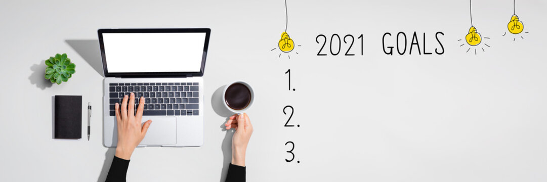 2021 goals with person using a laptop computer