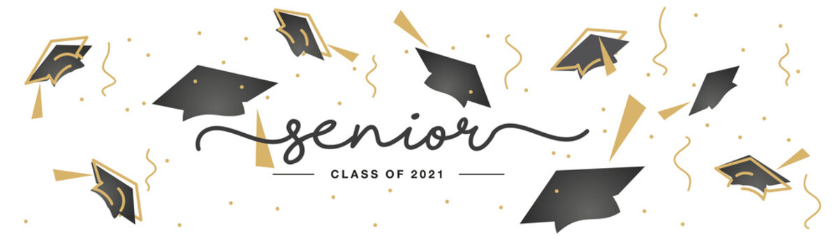 Senior Class of 2021 handwritten typography lettering text line design gold black white isolated background banner