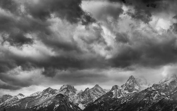 Clouds and Peaks, Grand Teton National Park, Wyoming, Usa, America