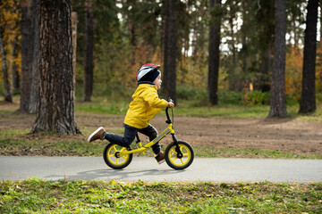 Fototapeta Active little boy in casualwear and safety helmet riding on balance bicycle
