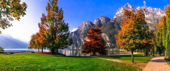 Wonderful autumn scenery. sunny morning in Riva del Garda. Garda lake , northern Italy