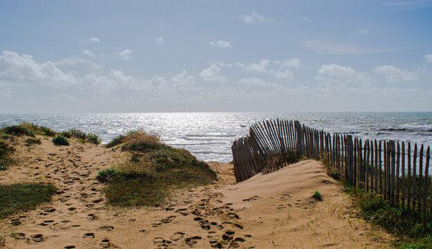 Vendée, the dunes of Bretignolles sur Mer, France.