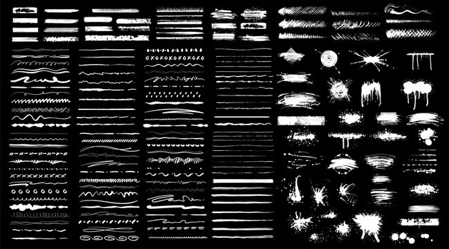 Collection of black paint. Spray paint elements, brush stroke, black splashes set. Sketch grunge charcoal, texture rough scratching pencil chalk line,freehand doodle scribble stroke art brushes vector