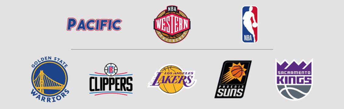 NBA Western Conference Pacific logos, scaleable vector file, transparent.